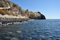Panorama på den södra sidan av ön av Santorini i Grekland Arkivbilder