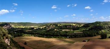 Panorama på ett typisk Perigord landskap i Frankrike Arkivbild