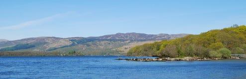 Panorama på Loch Lomond Arkivbilder