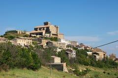 Panorama på Ujue, Navarre, nordliga Spanien Arkivfoto