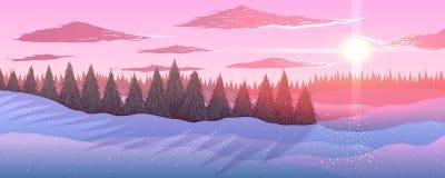 Panorama Paesaggio di inverno Foresta degli abeti nel tramonto Immagini Stock