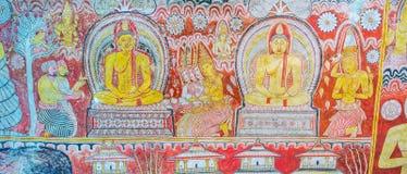 Panorama of painted wall in Maharaja Lena Cave Stock Photos