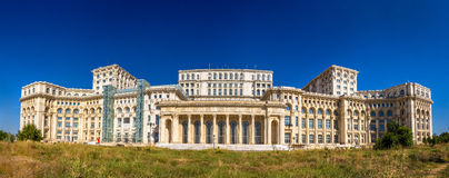 Panorama of The Palace of Parliament in Bucharest Stock Photography