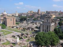 Panorama of the palatinum of Rome with its buildings ruins. Italy Stock Photography