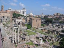 Panorama of the Palatinum of Rome with ruin buildings, antique buildings and the white monument of the homeland. Italy. Panorama of the Palatinum. Roman antique Royalty Free Stock Photo
