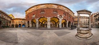 Panorama of Palazzo della Ragione and Piazza dei Mercanti Stock Photography