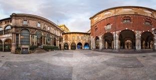 Panorama of Palazzo della Ragione and Piazza dei Mercanti in the Stock Photo