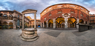 Panorama of Palazzo della Ragione and Piazza dei Mercanti. In the Morning, Milan, Italy Stock Photo