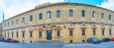 Panorama of Palazzo Manresa, Floriana, Malta. FLORIANA, MALTA - JUNE 17, 2018: Panorama of Baroque Palazzo Manresa - Archbishop`s Curia, decorated with carved Stock Photos