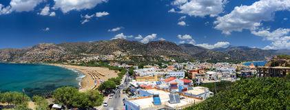 Panorama of Paleochora town, located in western part of Crete island Royalty Free Stock Photo