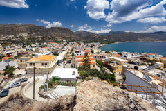 Panorama of Paleochora town, located in western part of Crete island, Greece.  stock images