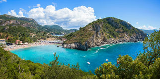 Panorama of Paleokastritsa Royalty Free Stock Photography