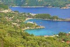 Panorama of Paleokastritsa, Corfu. Panorama of  hilltops and Paleokastritsa, Corfu, Greece Stock Photography