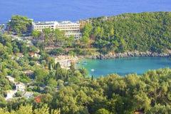 Panorama of Paleokastritsa, Corfu. Panorama of  hilltops and Paleokastritsa, Corfu, Greece Stock Images