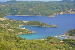 Panorama of Paleokastritsa, Corfu. Panorama of  hilltops and Paleokastritsa, Corfu, Greece Royalty Free Stock Photos