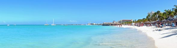 Panorama from Palm Beach on Aruba island. In the Caribbean Sea Stock Images