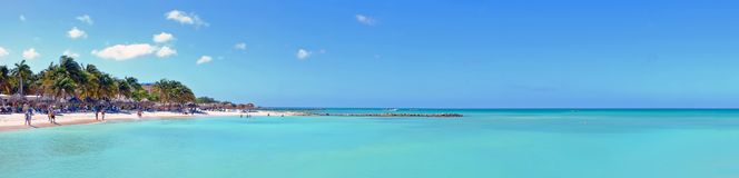 Panorama from Palm Beach on Aruba island. In the Caribbean Sea Stock Image