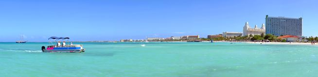 Panorama from Palm Beach on Aruba island. In the Caribbean Sea Stock Photography