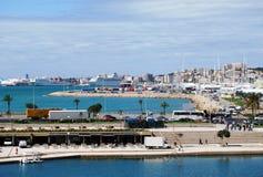 Panorama of Palma de Mallorca. Beautiful park in Palma de Mallorca with view to the Mediterranean sea Stock Photos