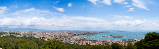 Panorama of Palma de Mallorca harbour. Royalty Free Stock Image