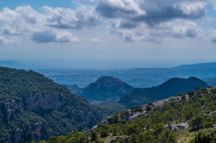 Panorama of Palma de Mallorca from Tramuntana mountains, Spain. Panorama of Palma de Mallorca from Tramuntana mountains on the GR 221, Mallorca, Baleares, Spain Royalty Free Stock Image