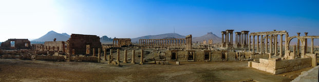 Panorama Palmyraspalten und alte Stadt, zerstört durch ISIS, Syrien lizenzfreie stockbilder