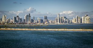 Panorama of Panama City seen from the sea stock images