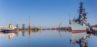 Panorama pancernik w schronieniu Wilhelmshaven obraz stock