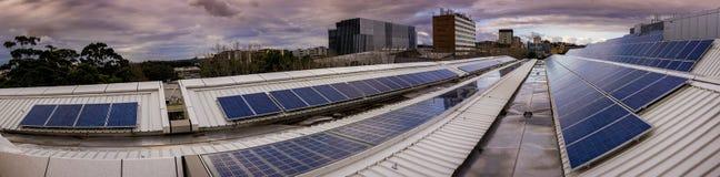 Panorama panel słoneczny na dachu Zdjęcie Stock