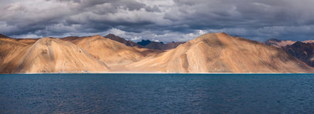 Panorama of Pangong Tso Lake Royalty Free Stock Photo