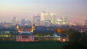 Panorama Panorama of Canary Wharf in night, London. London, UK - October 31, 2015: Panorama Panorama of Canary Wharf in night. View from the Greenwich hills stock video