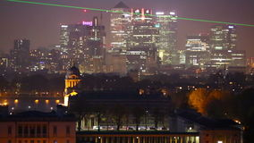 Panorama Panorama of Canary Wharf in night, London. London, UK - October 31, 2015: Panorama Panorama of Canary Wharf in night. View from the Greenwich hills stock video footage