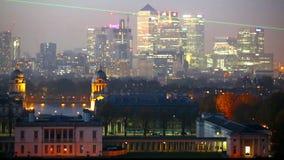 Panorama Panorama of Canary Wharf in night, London stock footage