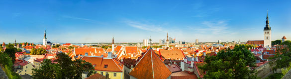 Panorama Panoramic Scenic View Landscape Old City Town Tallinn I Royalty Free Stock Photos
