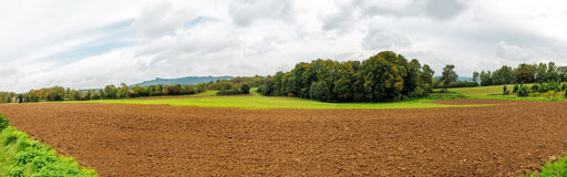 Panorama. Panoramic view of farmland during a bleak october Stock Images