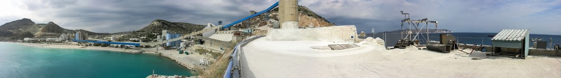 A panorama or a panoramic view of a large area of a bentonite processing plant in Greece. At the bottom  is clearly seen water coming here from the Aegean Sea Royalty Free Stock Images