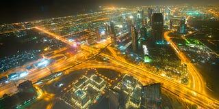 Panorama para baixo da cidade Dubai - UAE Imagens de Stock Royalty Free