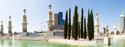 Panorama of Parc de l'Espanya Industrial in Barcelona Stock Image