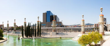 Panorama of Parc de l'Espanya Industrial in summer day Royalty Free Stock Photos