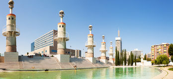 Panorama of Parc de l'Espanya Industrial in sunny day Stock Images