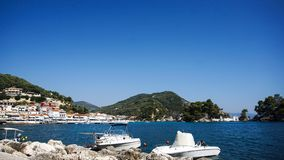 Panorama of Parga town. Epirus, Greece stock photos