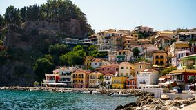 Panorama of Parga town. Epirus, Greece royalty free stock images
