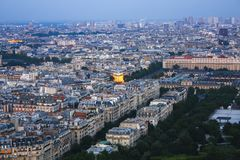 Panorama of Paris from above during sunset hour royalty free stock photos