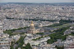 Panorama of Paris with Aerial view at Dome des Invalides Royalty Free Stock Photo