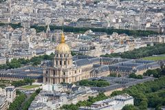 Panorama of Paris with Aerial view at Dome des Invalides Royalty Free Stock Images