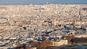 Panorama of Paris city with Luxembourg garden. Travel to France - panorama of Paris city with Luxembourg garden at winter sunset from Tour Maine - Montparnasse Stock Images