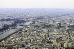 Panorama of Paris from Eiffel tower with river Seine Royalty Free Stock Photos