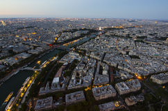 Panorama of Paris in the evening from the height of bird flight at sunset Royalty Free Stock Photography