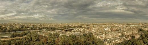 Panorama Paris för flyg- sikt Royaltyfria Bilder