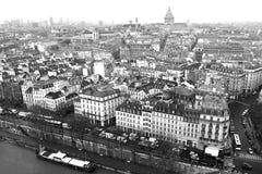 Panorama Paris från ovannämnt i Frankrike ett svartvitt foto Royaltyfria Foton